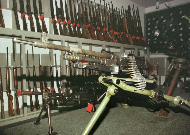 One of the many heavy machine guns recovered by the security forces from the IRA during the Troubles