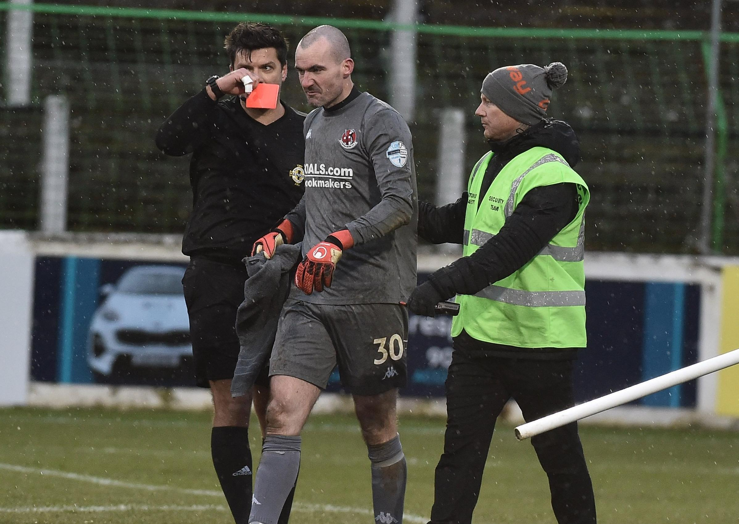 Referee Andrew Davey reveals fourth official Raymond Crangle confirmed Glentoran penalty call against Crusaders.