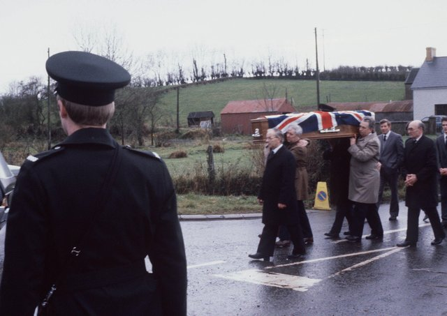 FUNERAL OF CONSTABLE WILLIAM CLEMENTS, KILLED AT BALLYGAWLEY RUC STATION DURING IRA MORTAR ATTACK