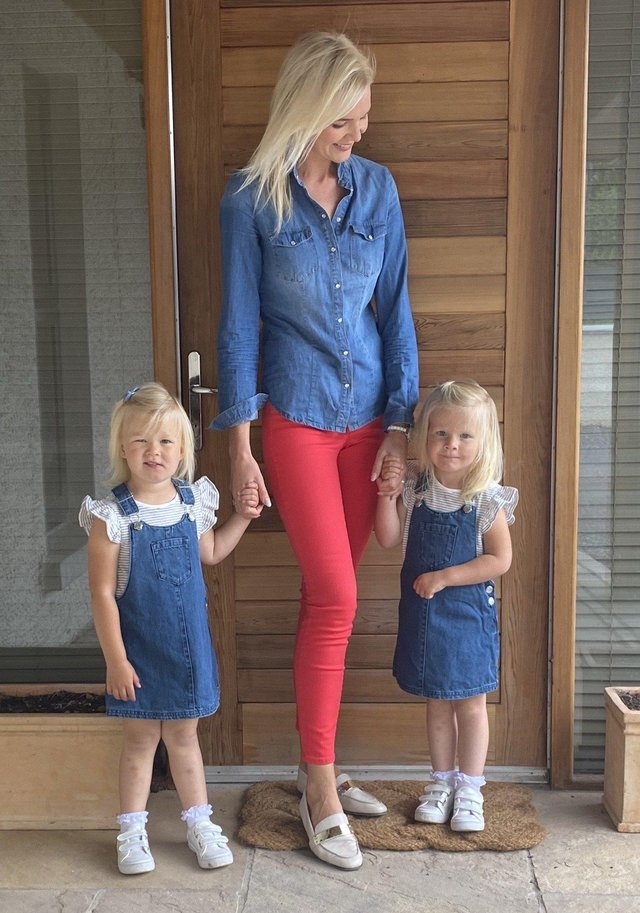 Judith with  twin girls  Julia and Jessica