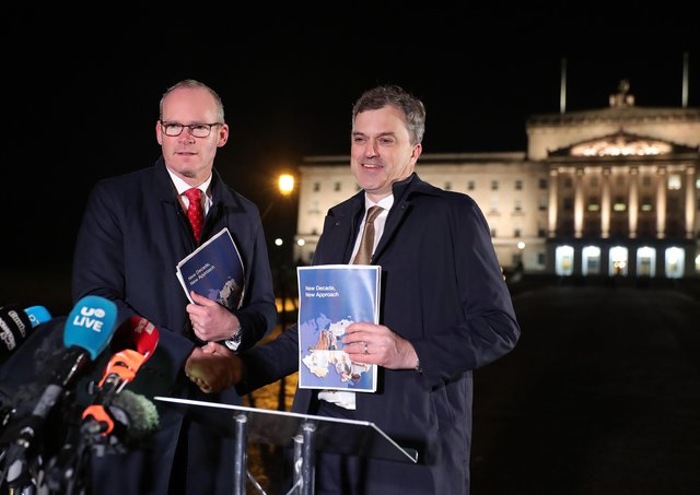 The sacking of Julian Smith, right, should have been a rare moment of joy for unionists, yet both the DUP and UUP lamented his departure. He presided over the tearing up of the three three strands, he let Simon Coveney, left, and the Irish government jointly write the agreement, and he included a pledge on the disastrous legacy proposals to appease Sinn Fein, having said legacy was not part of the talks. How did London ever install such a person as secretary of state?