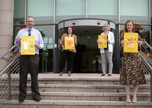 Simon Lee and Michelle Guy from Lisburn and Castlereagh City Council and Elaine Crory and Emma Wallace from Raise Your Voice launch a new campaign to help end sexual harassment against women