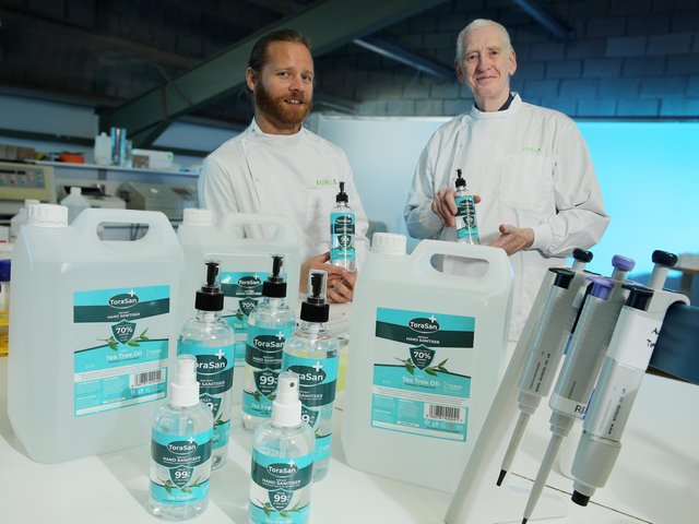 Pictured launching the ToraSan hand sanitiser range is Stephen Mullan, Torax Biosciences Laboratory Technician and Dr Lawrence McGrath PhD, MSc, T.D, Torax Biosciences Managing Director and esteemed clinical researcher