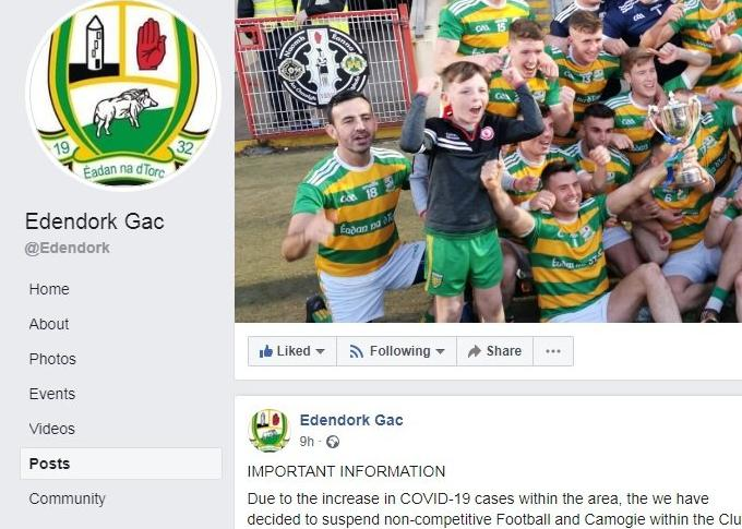GAA club suspend 'non-competitive Football and Camogie within the Club with immediate effect after increase of COVID-19 in area