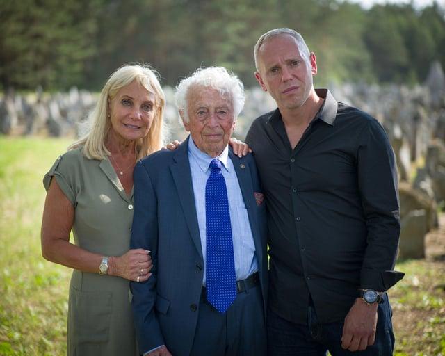 Angela Cohen (Robert Rinder's mother), Leon Rytz (last survivor of Treblinka death camp) and Robert Rinder at Treblinka (former NAZI death camp) in Poland
