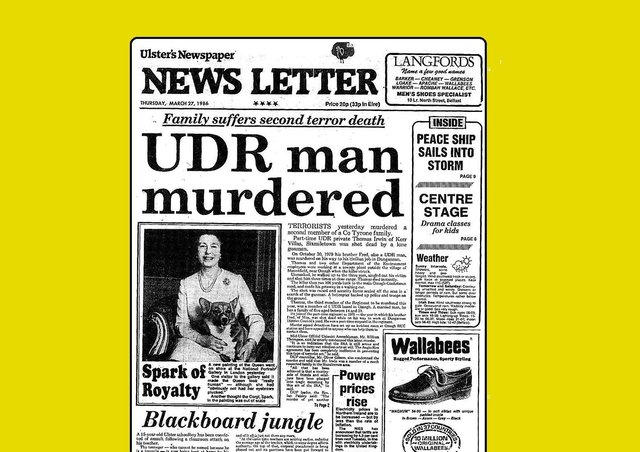 The News Letter's front page in 1986, announcing news of Thomas Irwin's murder; the copy on the page included condemnation of the killing from the DUP, SDLP, and even the Workers' Party (linked to the Official IRA)
