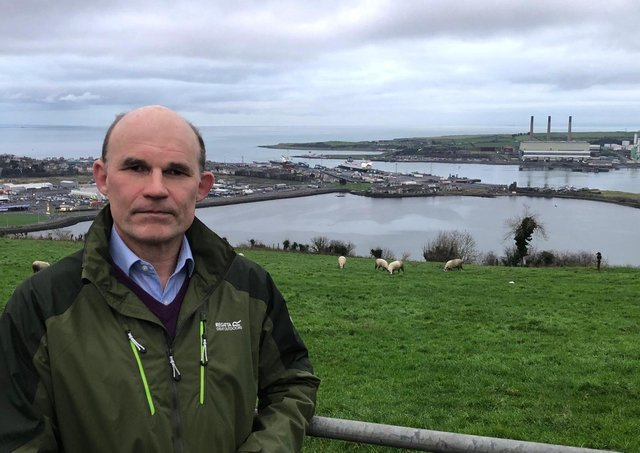 UUP MLA Roy Beggs with Larne Port – where EU officials will oversee the new Irish Sea border –in the background