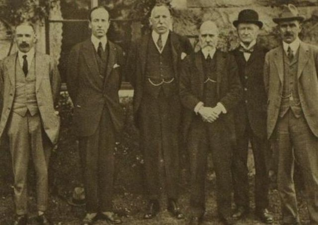 The Cabinet of Northern Ireland in 1921 (from left) Dawson Bates, Marquess of Londonderry, James Craig, H M Pollock, E M Archdale and J M Andrews