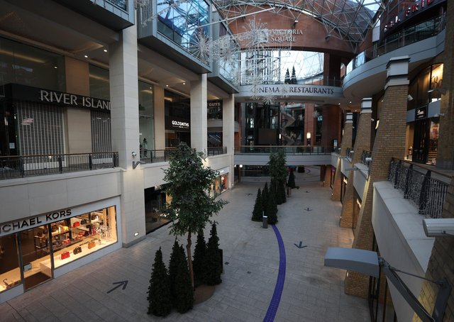 The closed Victoria Square shopping complex in Belfast yesterday as the six week lockdown in Northern Ireland continues. Online shopping was already killing traditional shops slowly. Photo: Liam McBurney/PA Wire