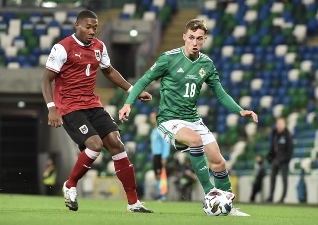 Gavin Whyte (right) on international duty for Northern Ireland. Pic by Pacemaker.