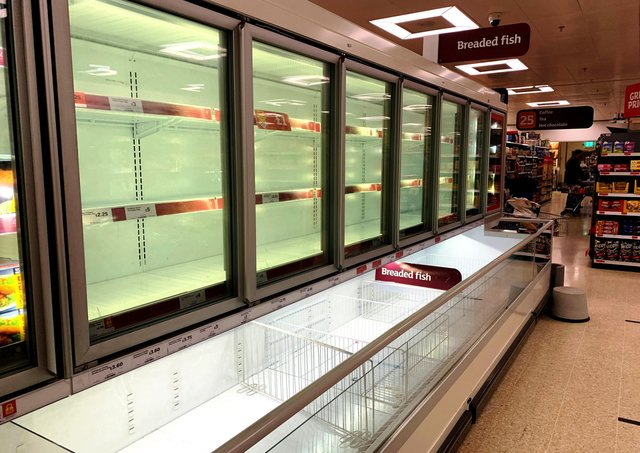 Fruit-and-veg are just one kind of foodstuff which has disappeared from shelves in recent weeks, like in this Sainsbury's frozen fish section last Wednesday
