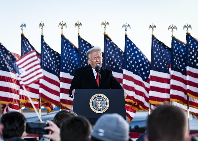 Donald Trump speaks to supporters on Wednesday, the last day of his presidency. Foolish talk from him and others undermined the more considered critiques of lockdown