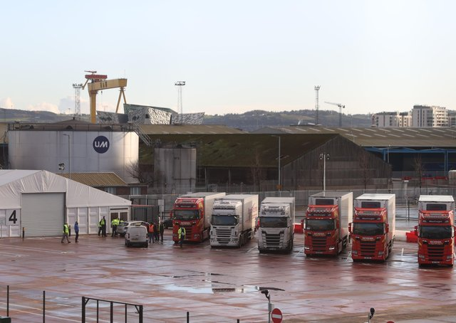 Lorries await checks at Belfast harbour this month. The biggest disaster for unionists has been Boris Johnson's new Irish Sea border. On Friday it got worse: the army will have to fill out EU forms and give 15 days notice of moving equipment to Northern Ireland. Then suddenly Brussels over played its hand over vaccines