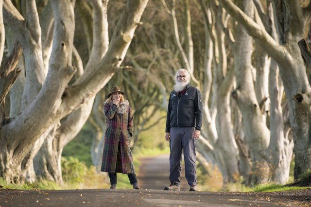 """Joanna Lumley visits the """"Dark Hedges"""" in County Antrim made famous in Game of Thrones and where she meets local guide and stand in actor in the series Flip Robinson"""