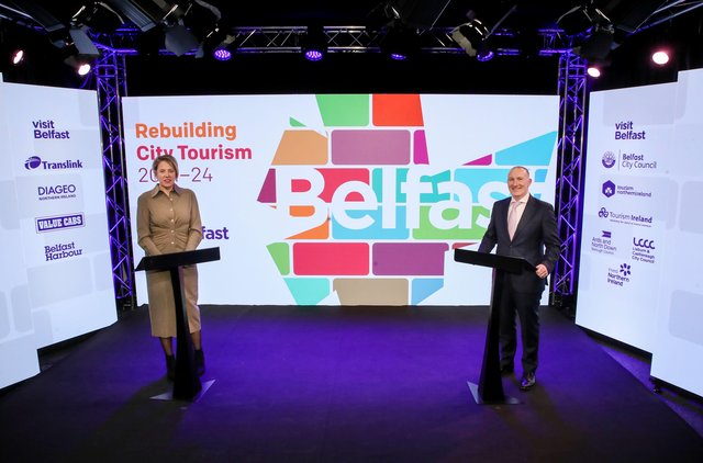 Visit Belfast chair Kathryn Thompson and chief executive Gerry Lennon presented the partnership-led approach