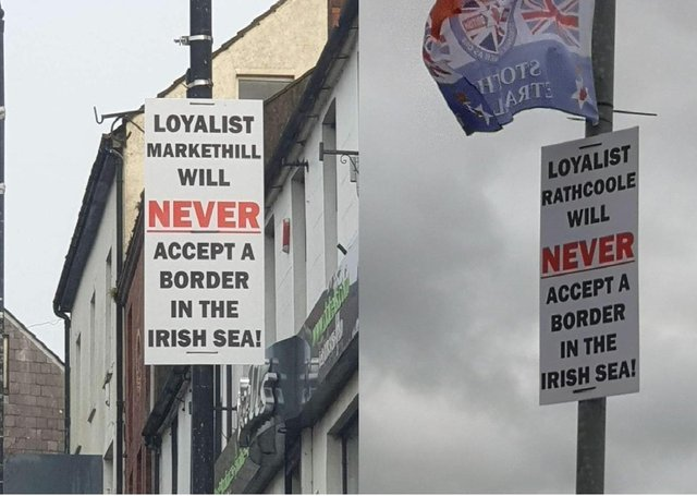 Some of the anti-Irish Sea border posters whic have been appearing across Northern Ireland over recent weeks