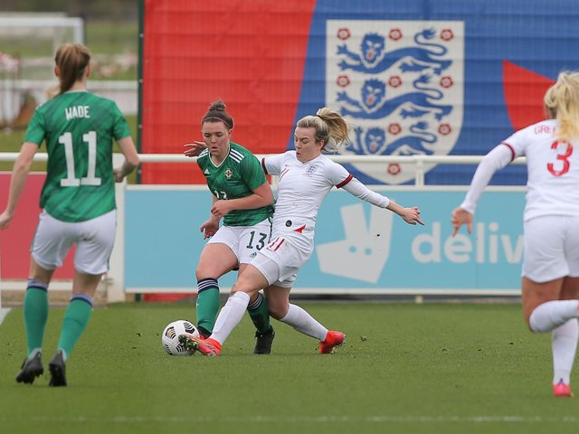 Northern Ireland's Abbie Magee and England's Lauren Hemp during the International friendly between the two sides at St. George's Park, England.