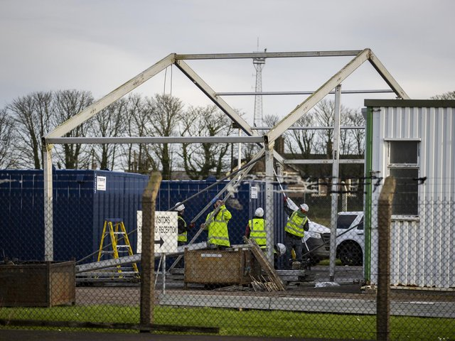 Construction workers building a temporary Border Control Post (BCP) at Larne Harbour in Northern Ireland in December 2020.