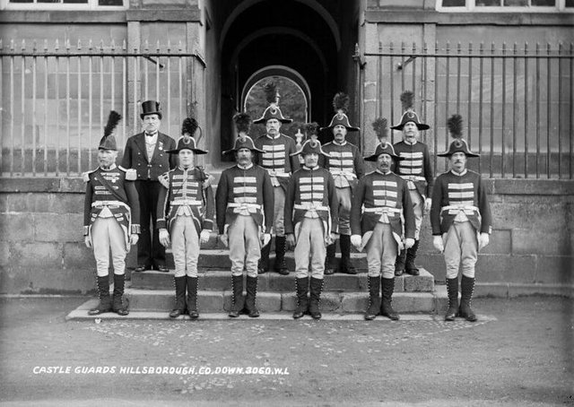 Guards at Hillsborough Castle. NLI Ref.: L_ROY_08060. Picture: National Library of Ireland