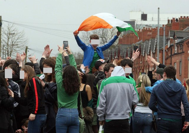 People partying in the Holylands area of Belfast on a previous occasion