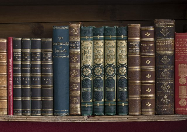 Books on bookshelves, part of the Library collections of the Earls of Enniskillen  at Florence Court, Co. Fermanagh, Northern Ireland.