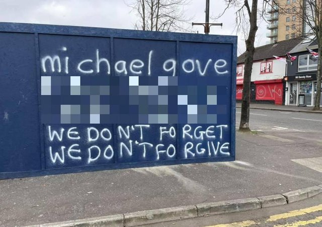 The graffiti appeared in the staunchly loyalist area of Sandy Row in Belfast.