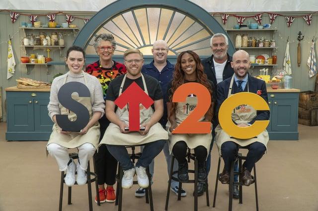 Prue, Matt and Paul with Daisy Ridley, Rob Beckett, Alexandra Burke and Tom Allen