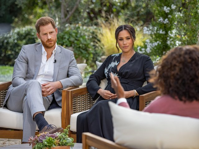 Prince Harry and Meghan, The Duke and Duchess of Sussex with Oprah Winfrey