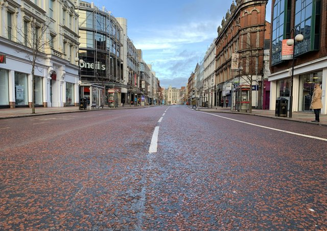 """Belfast city centre in lockdown last month, deserted in the way it has been for most of the last year. Dr McCloskey writes: """"When the economic and health effects of this debacle are assessed, the lost livelihoods and despair, then we can ask what went wrong"""""""