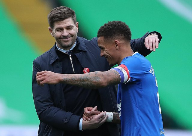 Rangers manager Steven Gerrard and captain James Tavernier. Pic by Getty.