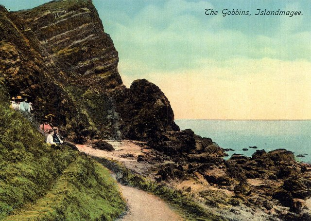 An old postcard depicts the scenic splendour of the Gobbins cliffs, Co Antrim. Picture: Larne Times archive