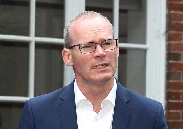 Simon Coveney speaking at Stormont in 2019.