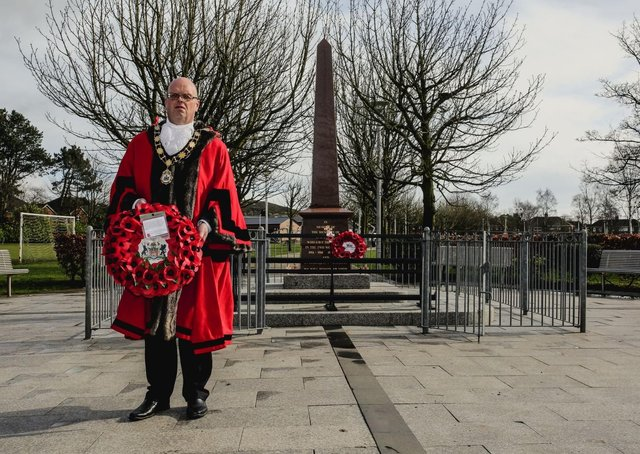 Cllr Jim Montgomery at Glengormley War Memorial following last month's attack.
