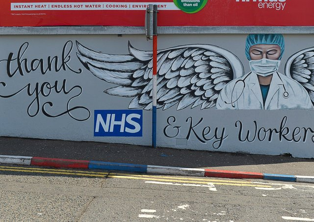 A mural, in Bond Street Londonderry, paying tribute to National Health Service workers. The mural was painted by Waterside brothers Dee, Mark and Peter Logan.  DER1920GS - 013