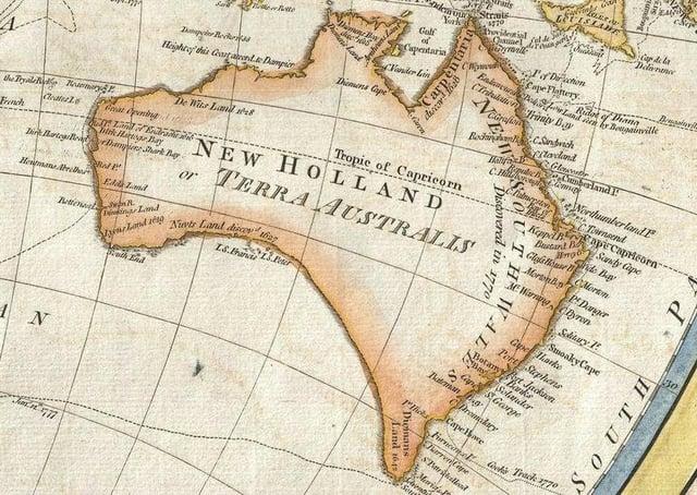 Australia in 1794 Samuel Dunn Map of the World in Hemispheres