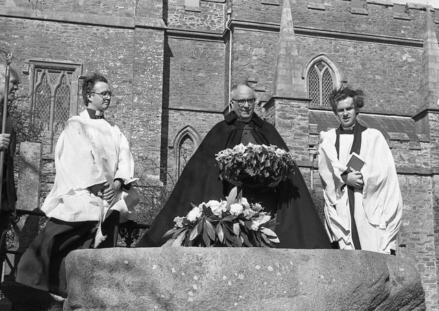 The Dean of Down, the Very Reverend J H R Good lays a wreath on St Patrick's Grave at Downpatrick, Co Down, with Canon Mervyn Kingston, left, and Stranmillis College chaplain Peter Cook on St Patrick's Day in March 1982. Pictures: Trevor Dickson/News Letter archives