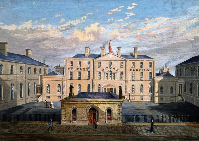 Belfast Royal Hospital in Frederick Street: the courtyard. Watercolour. Picture: Wellcome Trust (https://wellcome.org/press-release/thousands-years-visual-culture-made-free-through-wellcome-images)