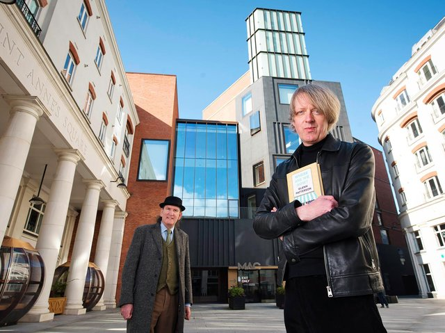East-Belfast author Glenn Patterson is pictured with Damian Smyth, Head of Literature and Drama at the Arts Council of Northern Ireland