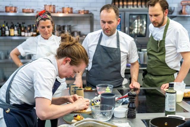Roberta, Amy, Stuart and Scott work their magic in the kitchen