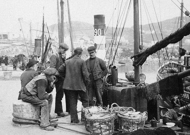 Fishermen on the pier at Downings, Co Donegal. Circa 1910 (but definitely between circa 1906 and 1914). NLI Ref.: CDB51. Picture: National Library of Ireland