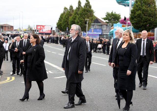 Michelle O'Neill and other top republicans at IRA man Bobby Storey's funeral