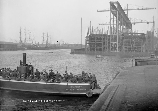No 5 Ferry, Belfast Harbour. Ship workers crossing the Lagan at the docks in Belfast. NLI Ref.: L_ROY_02401. Picture: National Library of Ireland