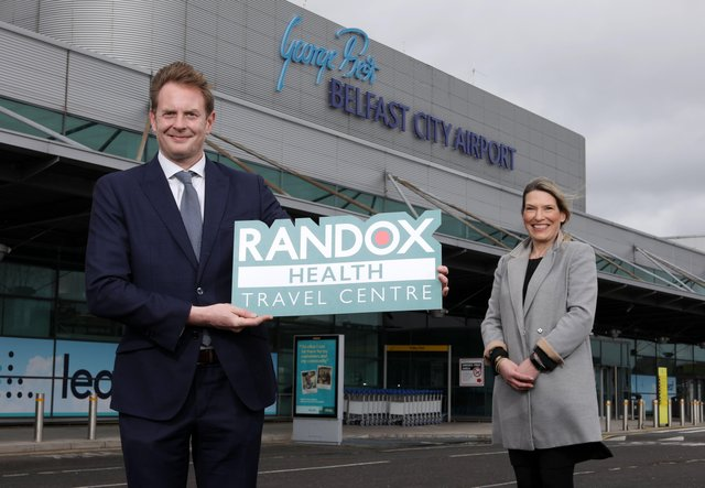 George Best Belfast City Airport's Operations Manager, Judith Davis, is joined by David Adamson, Regional Manager at Randox Laboratories, to announce the creation of a new in-terminal, COVID-19 testing centre