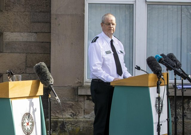 PSNI Chief Constable Simon Bryne during a press conference about prosecutors' decision not to prosecute anyone over the Bobby Storey funeral. He suspended a junior constable over their policing of an Ormeau Road massacre memorial, and he in turn should now be suspended. Photo: Liam McBurney/PA Wire