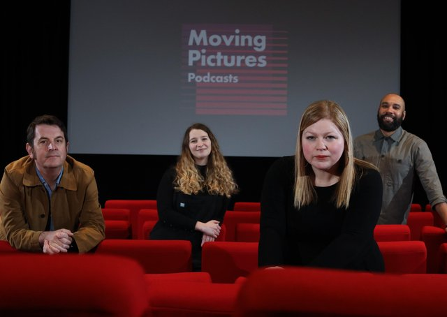 Film Hub NI's Hugh Odling-Smee is pictured with QFT's Ellen Reay, Film Hub NI's Sara Gunn-Smith and Eximo Marketing's Andi Jarvis at the QFT, Belfast for the launch of the Moving Pictures Podcast Series.