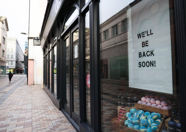 Press Eye - Belfast - Northern Ireland - 25th March 2021General view of Belfast city centre as most of retail remains closed. Photo by Kelvin Boyes / Press Eye.