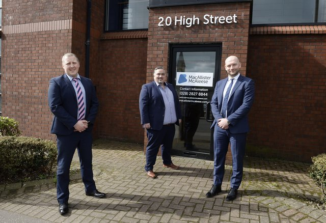 The partners of MacAllister McAleese, David McAleese and Kevin MacAllister are joined by Aaron Ennis, Head of North Business Centre at Danske Bank outside their offices in Larne