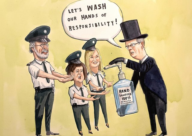 Gerry Adams, Mary Lou McDonald and Michelle O'Neill were at the funeral, the policing of which has led to calls for Simon Byrne to quit as chief constable.                 Cartoon by Brian John Spencer