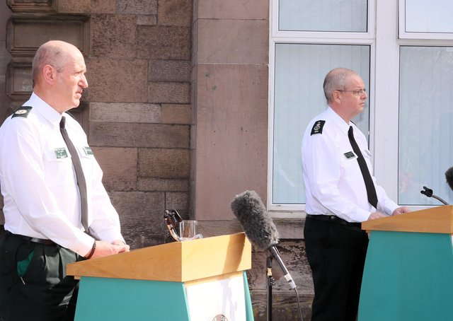 The PSNI Assistant Chief Constable Alan Todd and the Chief Constable Simon Byrne  speak after prosecutors said they will not be prosecuting anyone over the Bobby Storey funeral. According to the chief constable's own apparent way of operating, he and Mr Todd should be suspended pending an investigation, says John McDermott. Picture by Jonathan Porter/PressEye