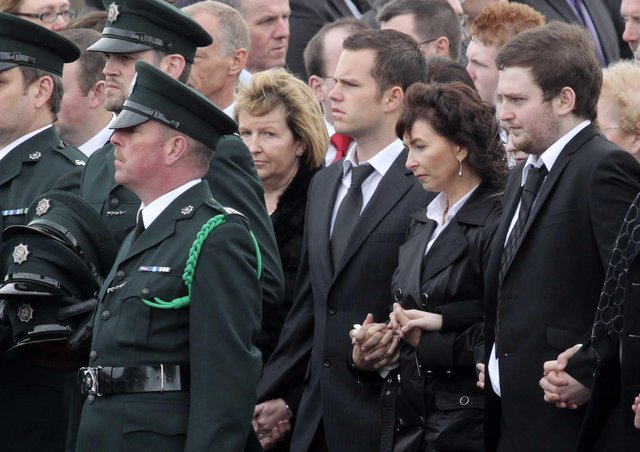 Funeral of PSNI constable Ronan Kerr killed in an under-car bomb attack in 2011 in Omagh.